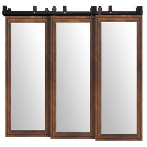 Decorative Wooden Mirror Triple Bypass Barn Doors