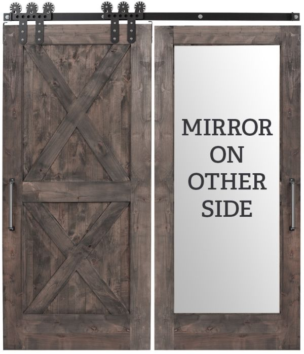 Double X Mirror Barn Door