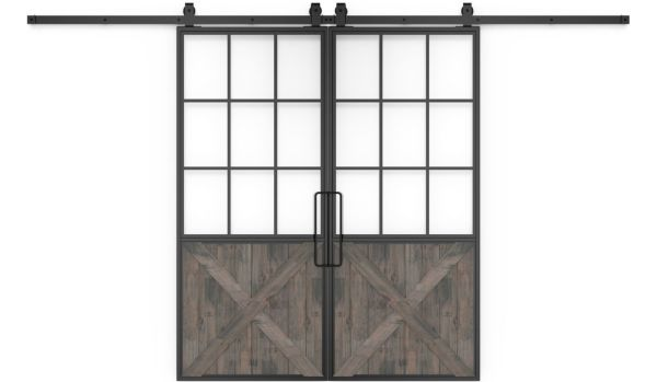 Mountain French Half X Double Barn Door