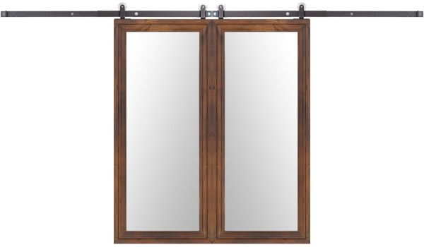Wooden Mirror Double Barn Door