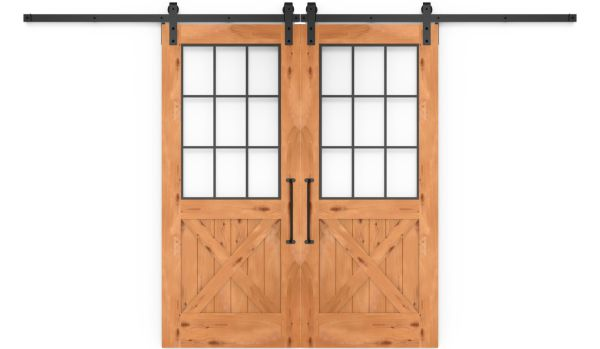 Farmhouse French Half X Double Barn Door