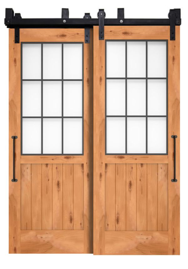 Farmhouse French Half Bypassing Barn Doors