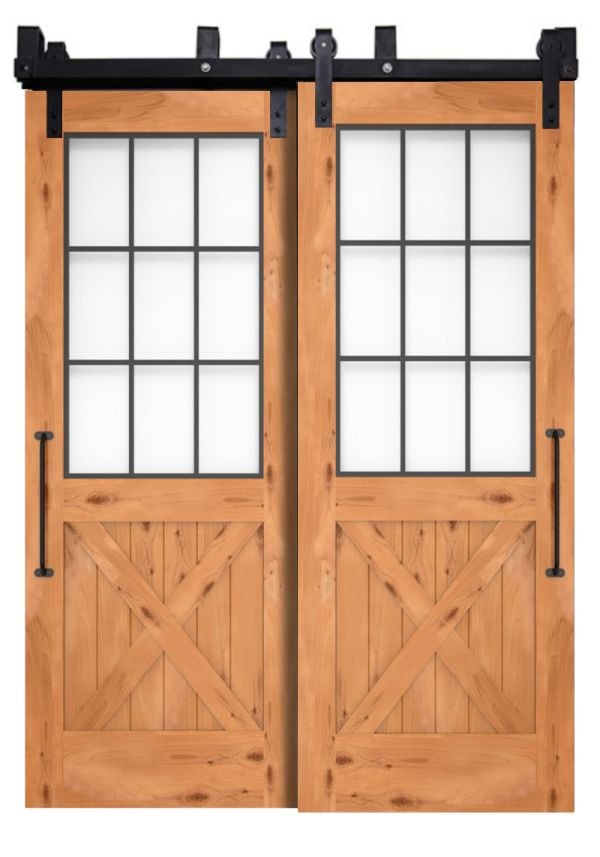 Farmhouse French Half X Bypassing Barn Doors