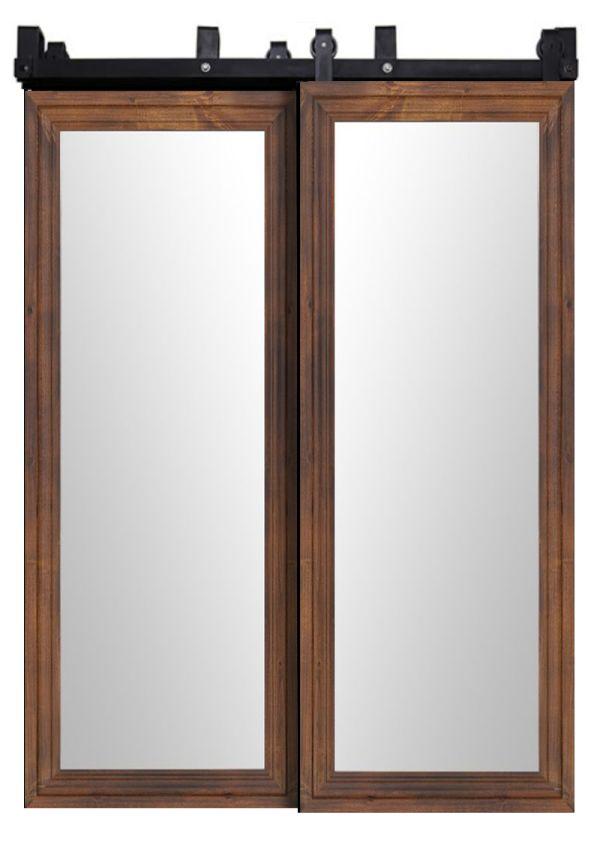 Wooden Mirror Bypassing Barn Doors