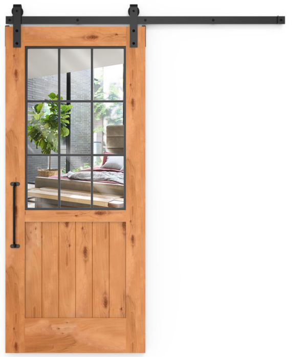 Farmhouse French Half Mirror Barn Door
