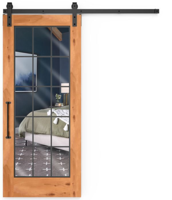 Farmhouse French Full Mirror Barn Door