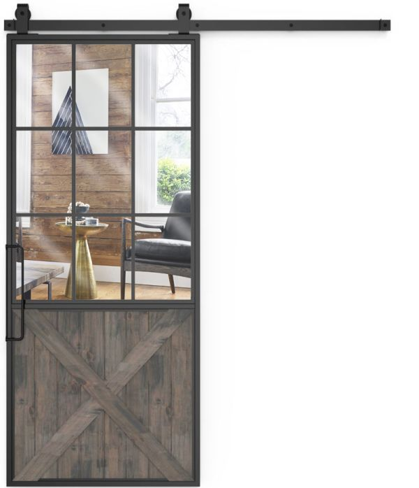 Mountain French Half X Mirror Barn Door
