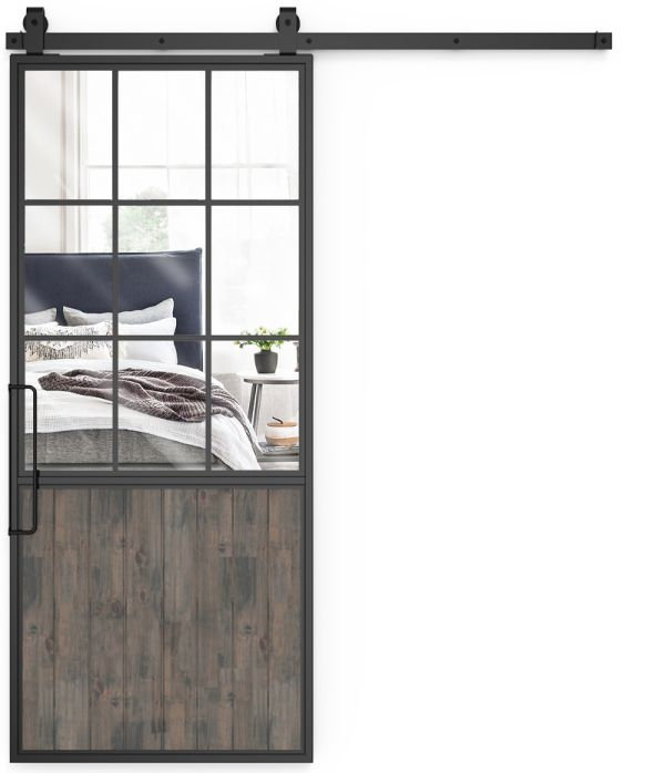 Mountain French Half Mirror Barn Door