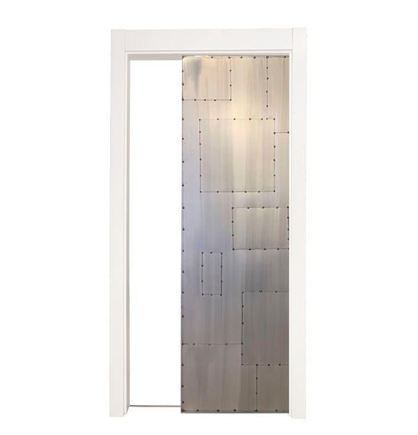 Salvaged Scrap Metal Single Pocket Door