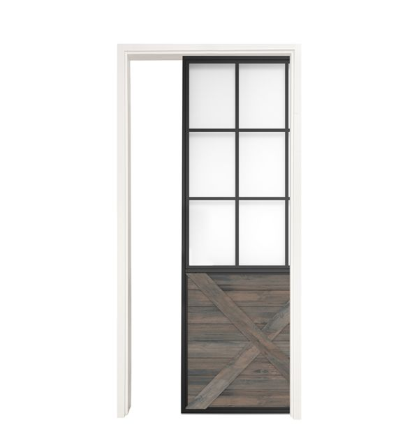 Mountain French Half X Single Pocket Door