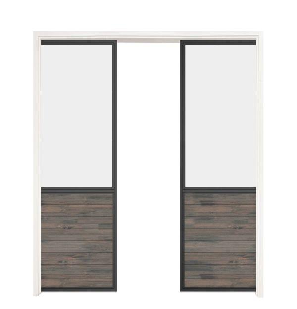 Chalet Double Converging Pocket Doors