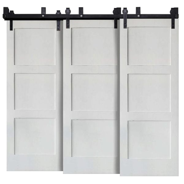 Contemporary 3 Panel Triple Bypass Barn Doors