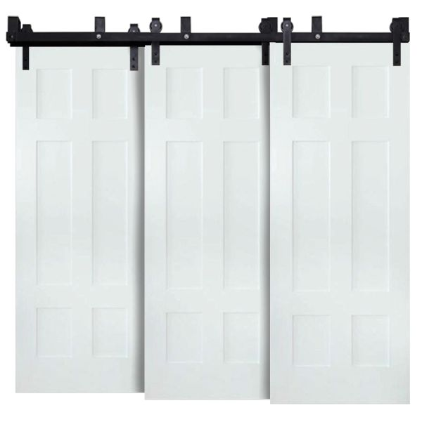 Contemporary Classic 6 Panel Triple Bypass Barn Doors