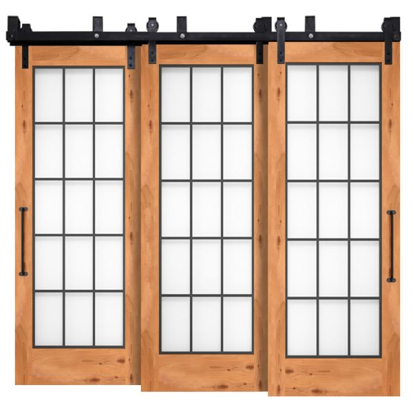 Farmhouse French Full Glass Triple Bypass Barn Doors