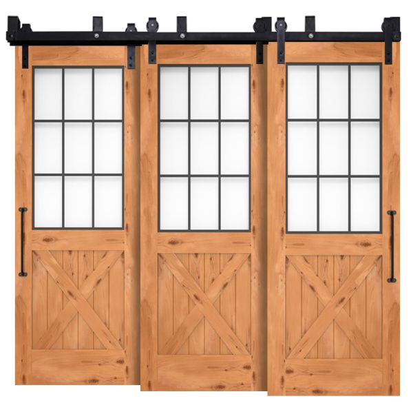 Farmhouse French Half X Triple Bypass Barn Doors