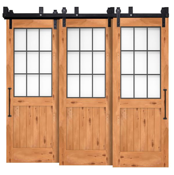 Farmhouse French Half Triple Bypass Barn Door