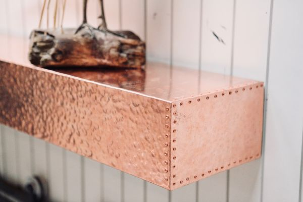 Coppersmith Hammered Fireplace Mantel