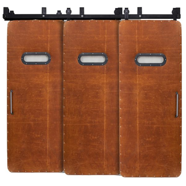 Leather Modern Range Triple Bypass Barn Doors
