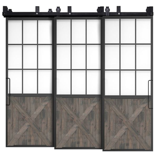 Mountain French Half X Triple Bypass Barn Doors