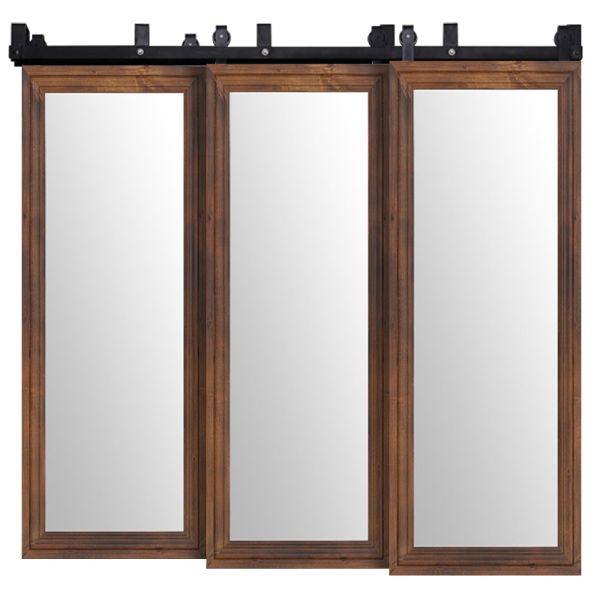 Decorative Wooden Mirror Triple Bypass Barn Doors