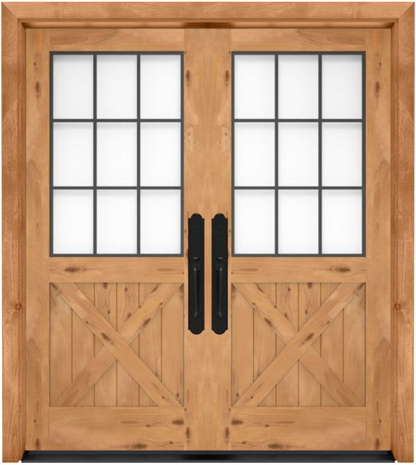 Farmhouse French Half X Exterior Double Door