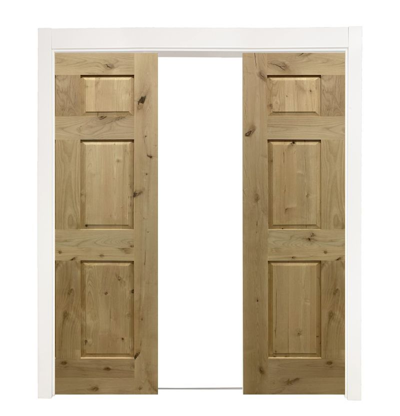 6 Panel Colonial Double Converging Pocket Doors