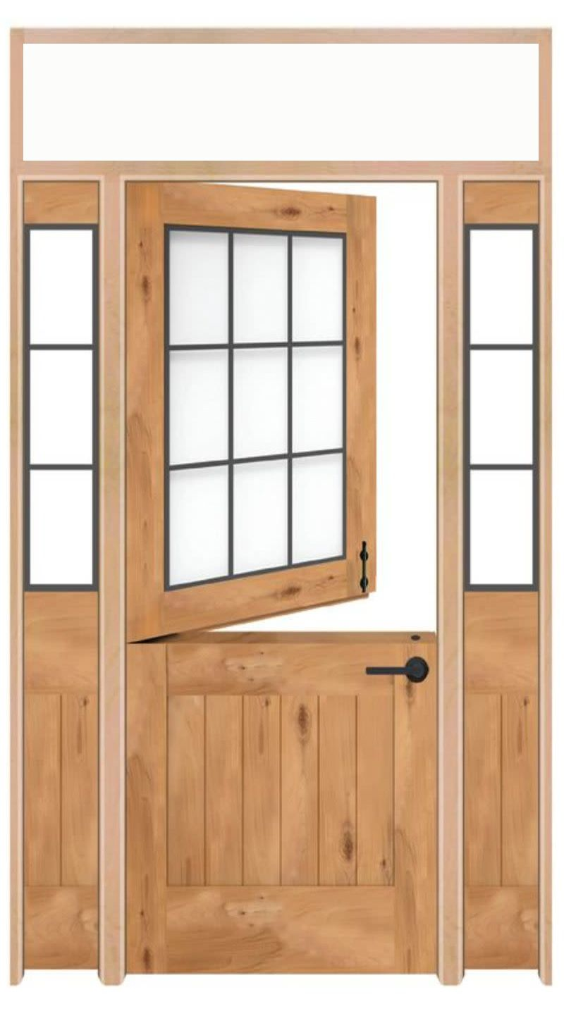 Farmhouse Dutch Interior Door With Sidelights And Transom Window
