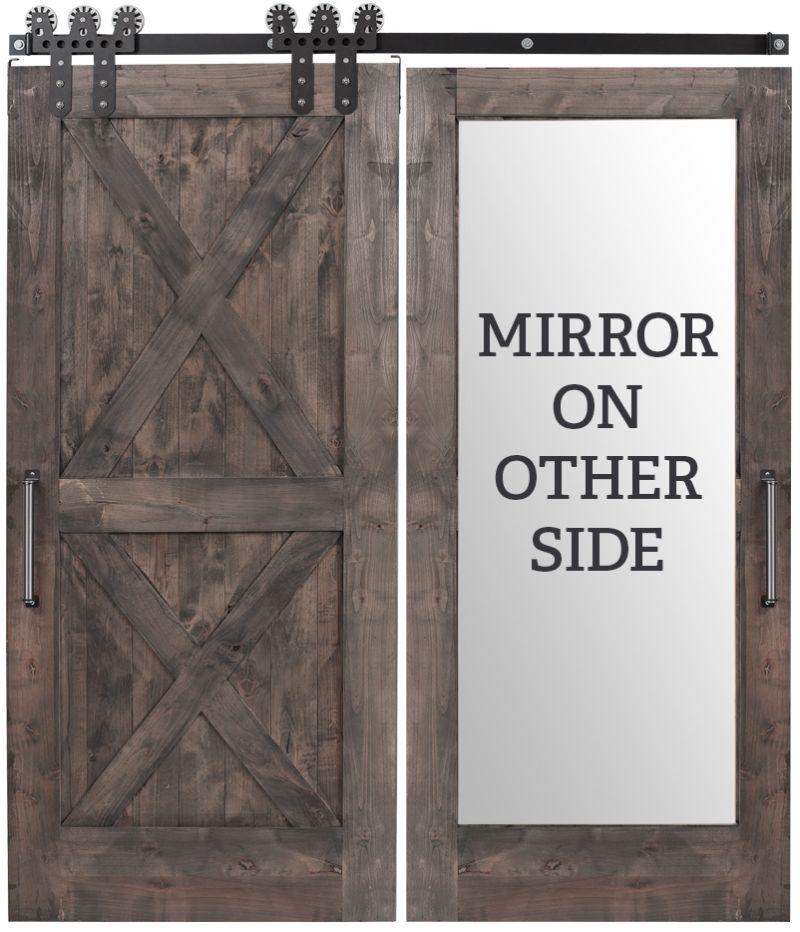 Double X Mirror Barn Door