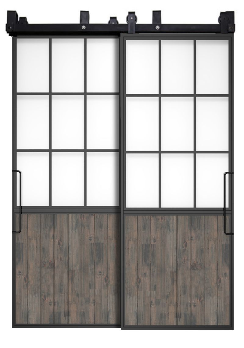 Mountain French Half Bypassing Barn Doors
