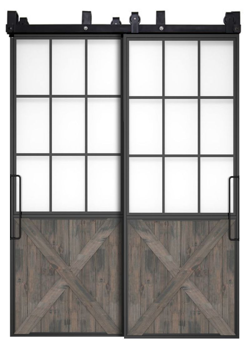 Mountain French Half X Bypassing Barn Doors