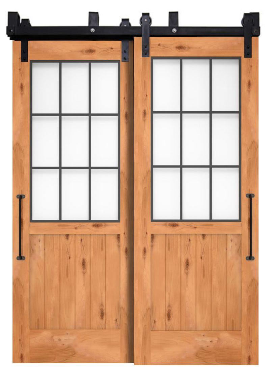 Farmhouse French Half Bypassing Barn Doors