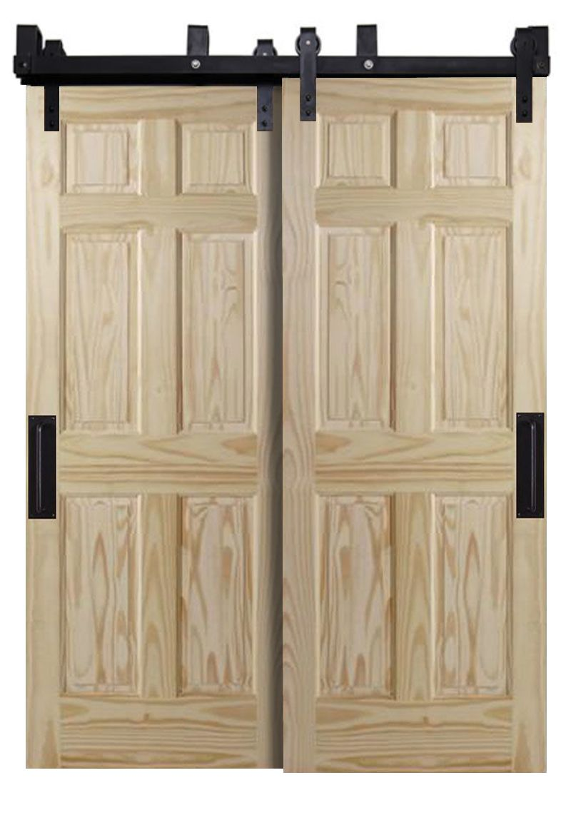 Six Panel Bypassing Barn Doors