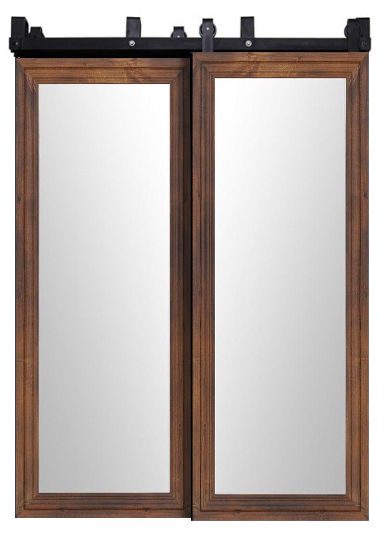 Decorative Wooden Mirror Bypassing Barn Doors