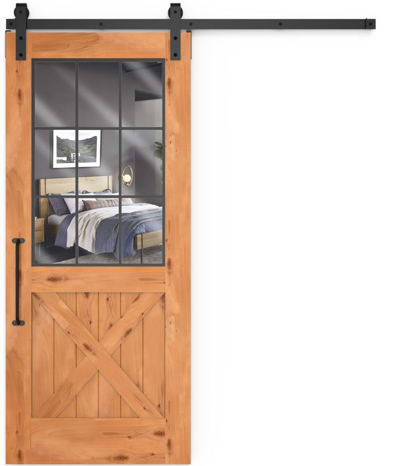 Farmhouse French Half X Mirror Barn Door