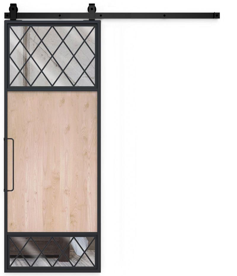 French Tiller Mirror Barn Door