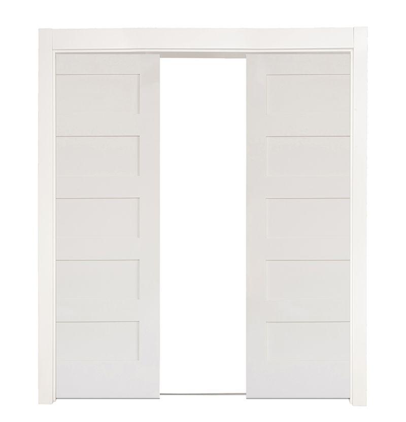 5 Panel Double Converging Pocket Doors