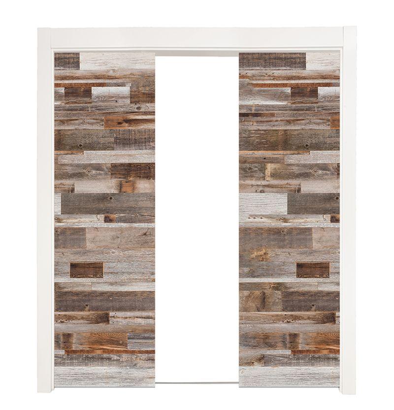 Barn Wood Reclaimed Double Converging Pocket Doors
