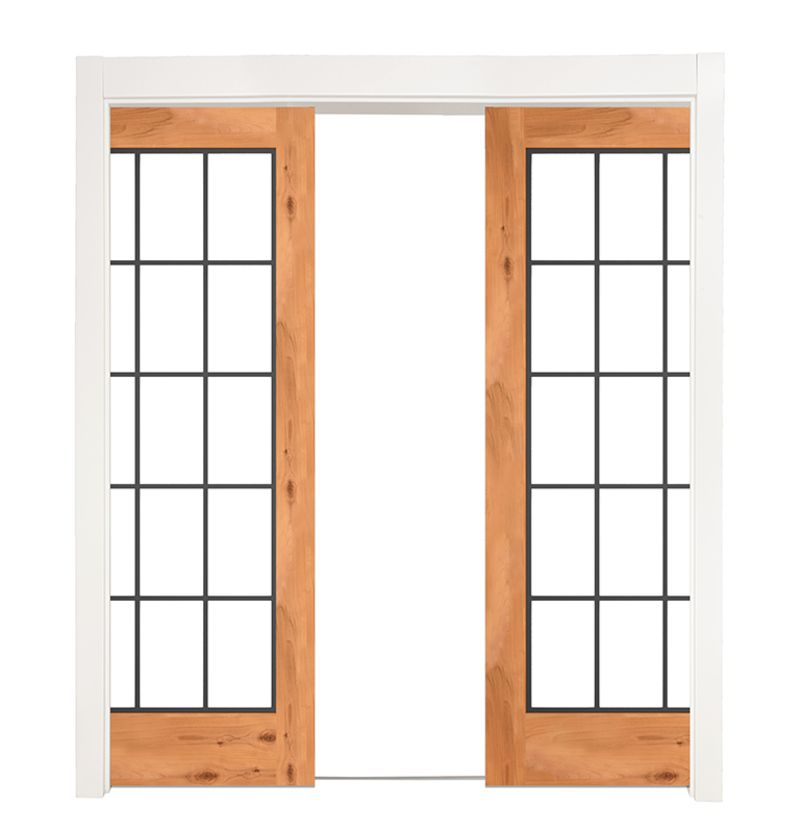 Farmhouse French Full Double Converging Pocket Doors
