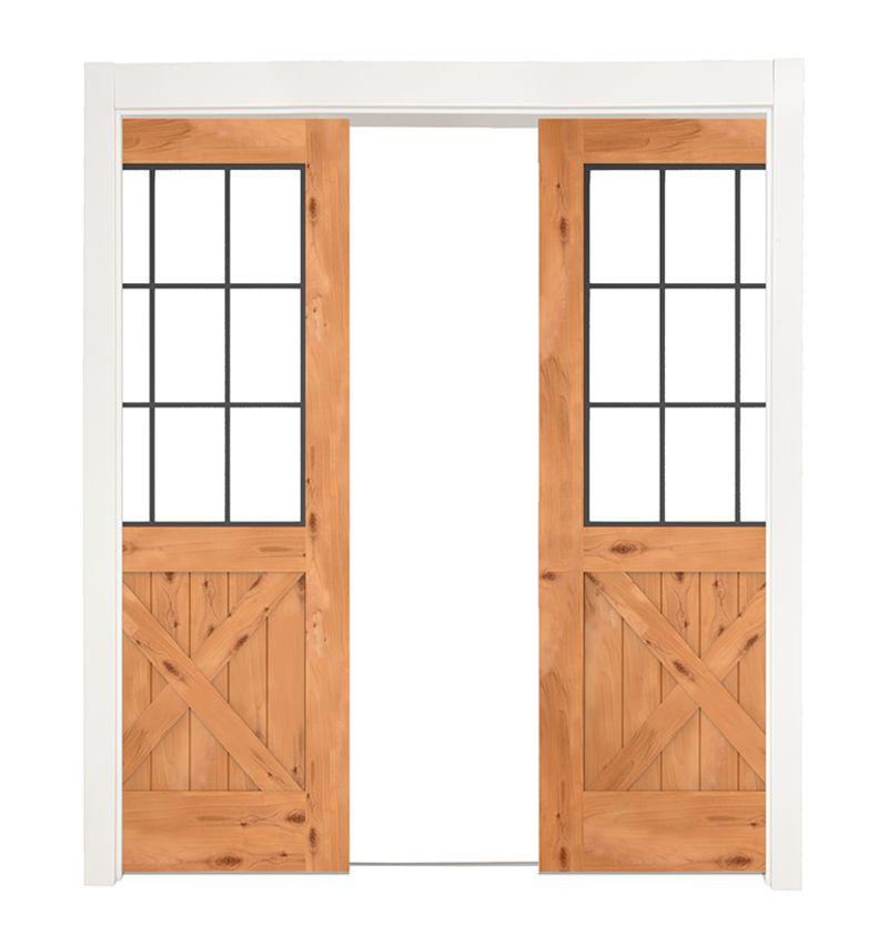 Farmhouse French Half X Double Converging Pocket Doors