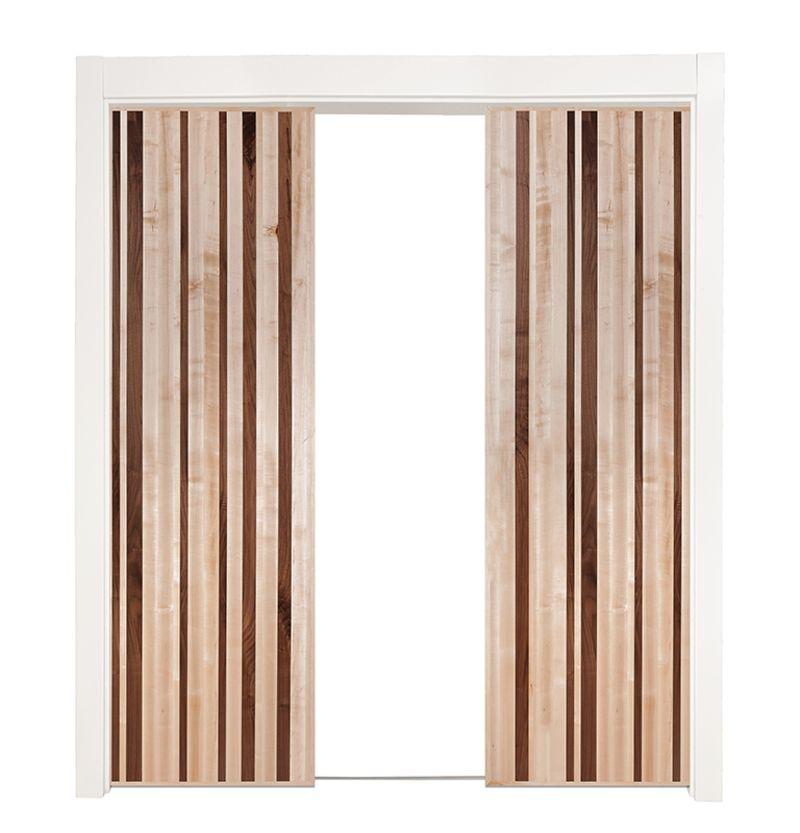 Modern Slab Double Converging Pocket Doors