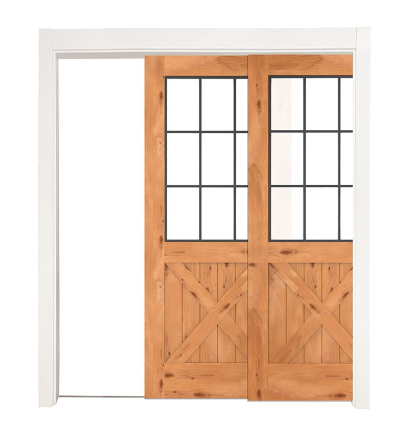 Farmhouse French Half X Bypassing Pocket Doors