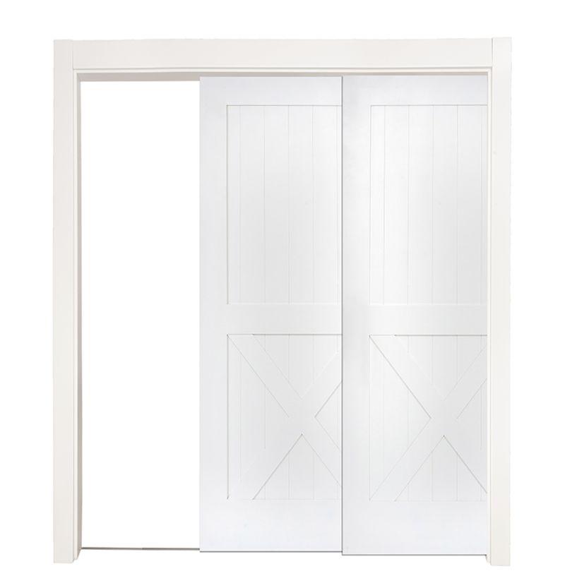 Half X Bypassing Pocket Doors