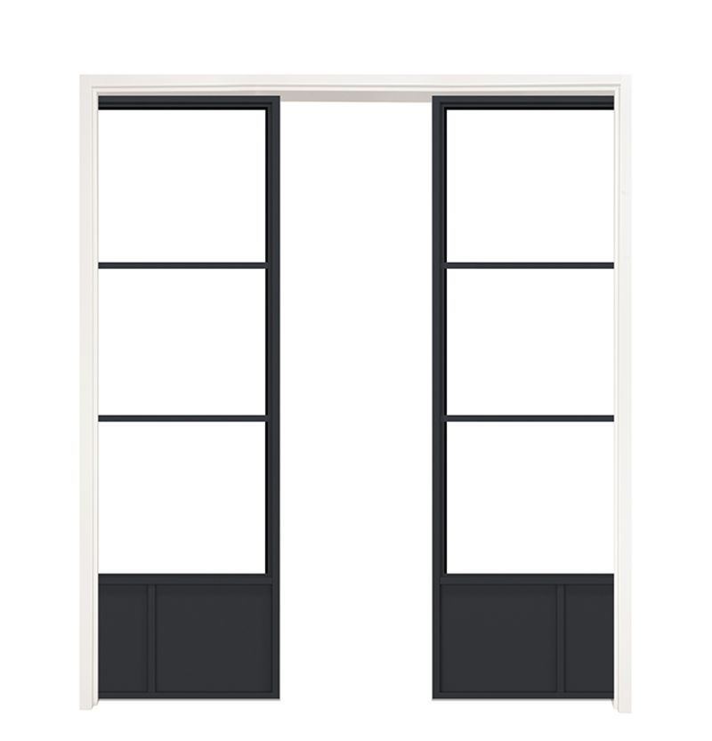 Traditional French Double Converging Pocket Doors