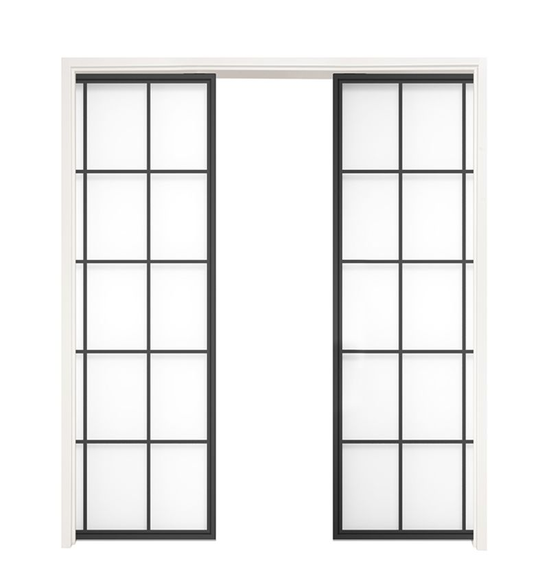 Mountain French Full Double Converging Pocket Doors