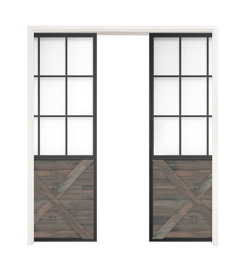 Mountain French Half X Double Converging Pocket Doors