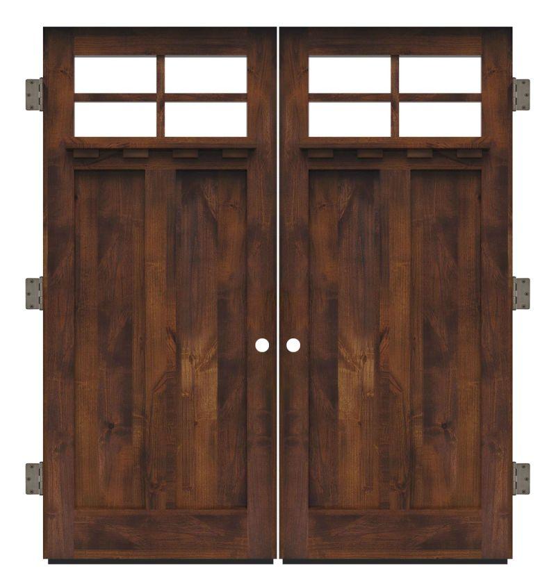 Left Fork Exterior Double Slab Door