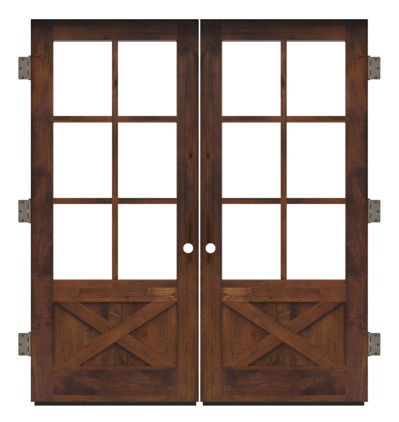 Cross Saw Exterior Double Slab Door