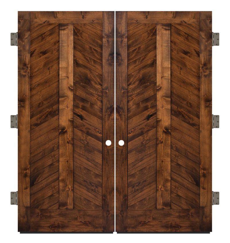 Heartland Chevron Exterior Double Slab Door
