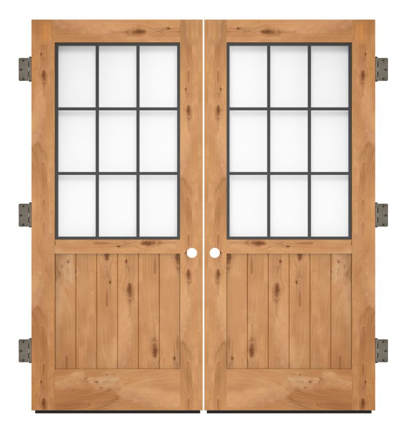 Farmhouse French Half Exterior Double Slab Door