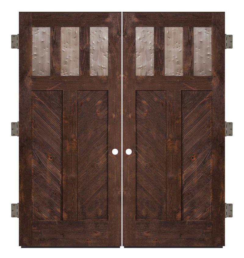 Chevron Exterior Double Slab Door